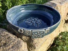 grand plat en céramique bleu nuit