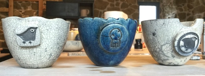 bol raku bleu et blanc