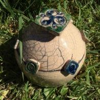 poterie Toramur Raku boite bleu vert
