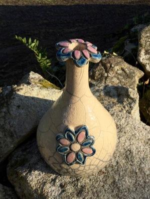 vase fleur en raku bicolore