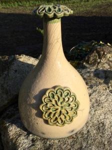 vase en raku vert
