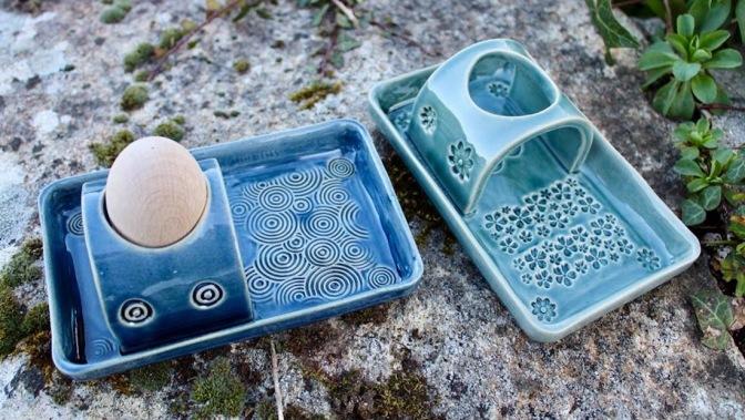 Poterie Toramur coquetiers vert et bleu