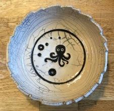 poterie Toramur coupelle raku poulpe