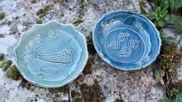 Poterie Toramur coupelles rondes vert bleu