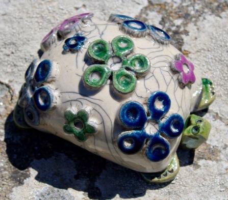 Poterie Toramur grosse tortue fleurs
