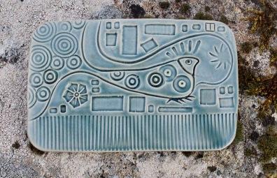 poterie Toramur plaque déco oiseau art déco