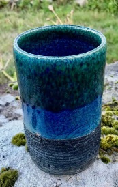 Poterie Toramur vase tube bleu emeraude