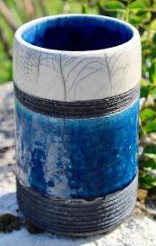 poterie toramur vase tube bleu