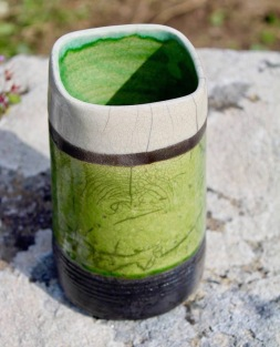 Poterie Toramur vase tube vert