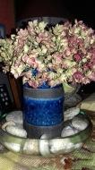 vase raku bleu hortensia